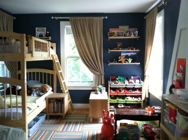 shared boys room bunks and play area