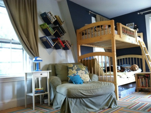 Boys' room bunk beds and reading nook