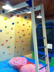 climbing wall with monkey bars